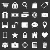 ícones do comércio eletrônico em fundo preto — Vetor de Stock