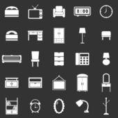 Bedroom icons on black background — Vector de stock