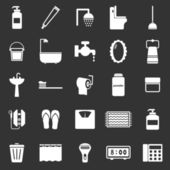 Bathroom icons on black background — Stock Vector