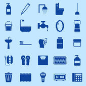 Bathroom color icons on blue background — Vettoriale Stock