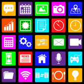 Application colorful icons on black background — ストックベクタ