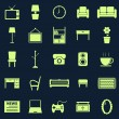 Living room icons on black background — Stock Vector