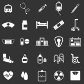 Hospital icons on black background — Stock Vector