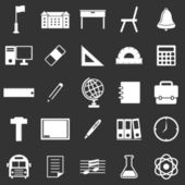 School icons on black background — ストックベクタ