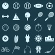 Sport color icons on blue background — Vector de stock #34284405