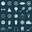 Sport color icons on blue background — Stok Vektör #34284405