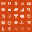 Stock Vector: Money color icons on orange background