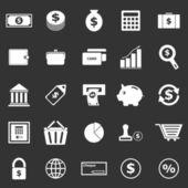 Money icons on black background — Stock Vector