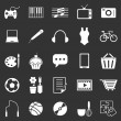 Hobby icons on black background — Image vectorielle