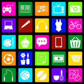 Hobby colorful icons on black background — Vecteur