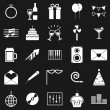 Celebration icons on black background — 图库矢量图片