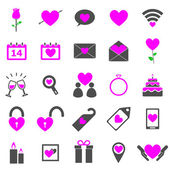 Valentine's day color icons on white background — Stock Vector