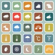 Weather flat icons on blue background — Stock Vector