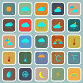 Weather flat color icons on blue background — Stock Vector