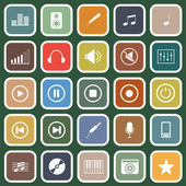 Music flat icons on green background — Stock Vector