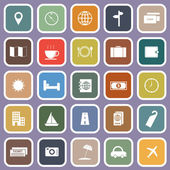 Travel flat icons on violet background — ストックベクタ