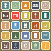 Furniture flat icons on brown background — Stock Vector