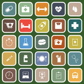 Health flat icons on green background — Stockvektor