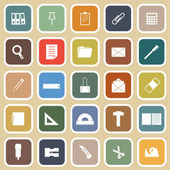 Stationary flat icons on yellow background — Stock Vector