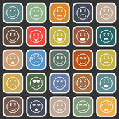 Circle face flat icons on balck background — Stock Vector