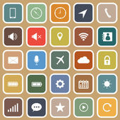 Mobile phone flat icons on brown background — Stock Vector
