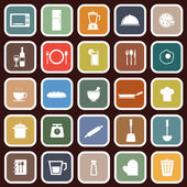 Kitchen flat icons on red background — Stock Vector