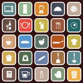 Ícones plana de cozinha no fundo vermelho — Vetor de Stock