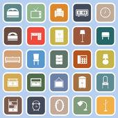 Slaapkamer plat pictogrammen op blauwe achtergrond — Stockvector