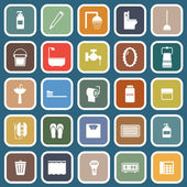 Bathroom flat icons on blue background — Stock Vector