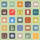 Hobby flat icons on green background — Cтоковый вектор