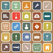 Construction flat icons on brown background — Stock Vector