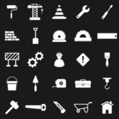 Construction icons on black background — Stock Vector