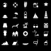 Beach icons with reflect on black background — Stock Vector