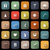 Party flat icons with long shadow — Vector de stock