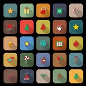 Icônes de couleur plat de Noël avec ombre portée — Vecteur