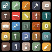 Tool flat icons with long shadow — Stock Vector