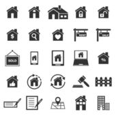 Real estate icons on white background — Stock Vector
