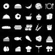Food icons on black background — Stock Vector