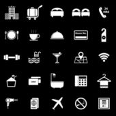 Hotel icons on black background — Vetorial Stock