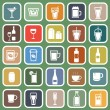 Drink flat icons on green background — Stock Vector