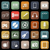 Entertainment flat icons with long shadow — Cтоковый вектор