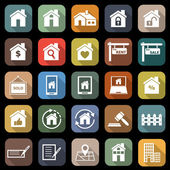 Real estate flat icons with long shadow — Stock Vector