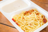 Delicious meal with spaghetti carbonara — Stock Photo