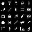 Art icons on black background — Stock Vector