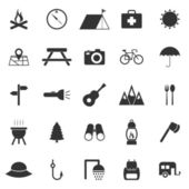 Camping icons on white background — Stock Vector
