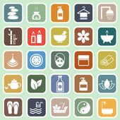 Spa flat icons on green background — Stock Vector