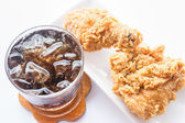Set of Iced cola drink and fried chicken  — Stock Photo