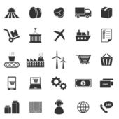 Supply chain icons on white background — Stock Vector