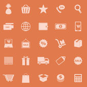 E-commerce color icons on orange background — Stock Vector