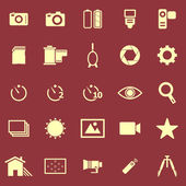 Camera color icons on red background — Stock Vector